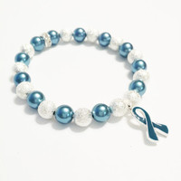 Ovarian Cancer Awareness - Teal Ribbon Jewelry - Ovarian Cancer Bracelet - Stardust Bead Bracelet - Oncology Nurse Jewelry - Teal and Silver