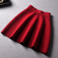 Autumn and winter women's new solid color wild Slim wool skirt