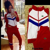 Stylish Set Embroidery Patchwork Jacket Zippers Women's Fashion Sportswear Set [4956156996]
