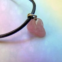 Kylie Jenner Inspired Rose Quartz Skull Choker with genuine leather and 925 silver charm holder