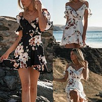 Women Boho Floral Chiffon Summer Party Evening Beach Short Mini Dress Sexy Ladies Holiday Sundress Sundress