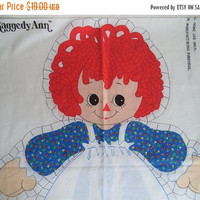 ON SALE Raggedy Ann pillow panel/ vintage Raggedy Ann fabric/ toy pillow/ Raggedy Ann pillow doll/ Cut and sew and stuff