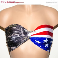 VALENTINES DAY SALE American Flag and Camo Bandeau, Beach Bra Swimsuit Top, Bikini Top Bandeau, Spandex Bandeau, Twisted Tops Bathing Suits