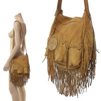 Vintage 70s Southwestern Buckskin Leather Fringe Bag 1970s Artisan Handmade Distressed Southwest Indian Hippie Boho Shoulder Purse