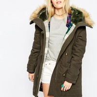 ASOS Parka With Check Liner And MA1 Detail