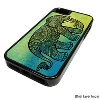 Apple iPhone 5 or 5S Green Indian Elephant Aztec Dual Layer Impact Protector Rugged Tough Case Cover Skin Hipster Cute DESIGN BLACK RUBBER SILICONE Teen Gift Vintage Hipster Fashion Design Art Print Cell Phone Accessories