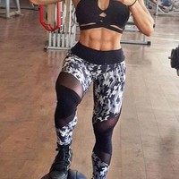Black Patchwork Camouflage Pattern High Waisted Stretch Yoga Slim Sock Casual Sports Legging