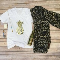 Gold Pineapple on White V Neck