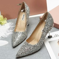 Miumiu Women Diamonds Fashion Heels Shoes-3