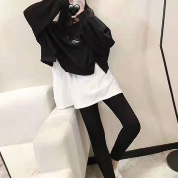 """ Welldone"" Woman Casual Leggings Wild Fashion Hem Letter Printing Loose Sleeve Trousers Two-Piece Set Casual Wear"