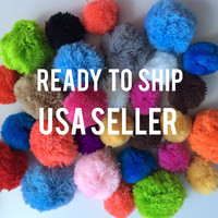 30 assorted colors sizes handmade yarn pom poms