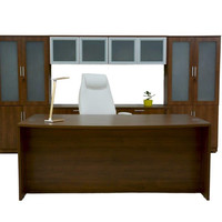 Elegant Executive Desk, Credenza with glass doors Hutch and Bookcases. FREE DELIVERY IN PUERTO RICO!