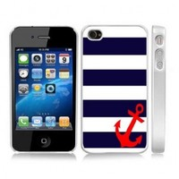 Stripes Sailor Red Anchor BLACK Snap-On Cover Carrying Case for iPhone 4/4S - Sea Life Captain