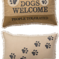 Dogs Welcome People Tolerated - with Paw Prints and Fringed Border - Canvas Decorative Throw Pillow - 19-in x 12-in