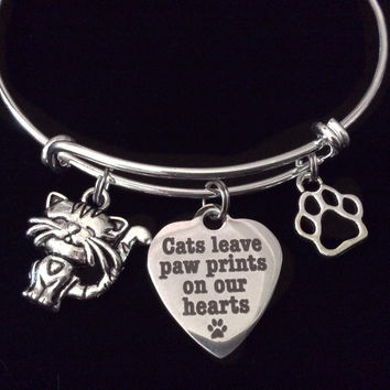 Cats Leave Paw Prints on our Heart Charm Silver Expandable Adjustable Wire Bangle Bracelet Meaningful Gift Animal Lover Gift