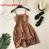 ALPHALMODA Women New Classic Striped Sling Dress Lacing Up High Waist Slim Fit Ladies A-line Vintage Summer Vestidos