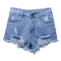 ROMWE Ragged-Hems Denim Blue Shorts