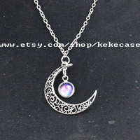 Necklace-Bib necklace,Moon necklace,Charm necklace,Silvery hollow star galactic cosmic moon necklace.-T127