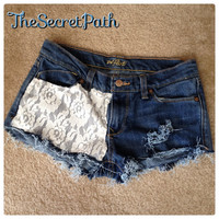 Jean Shorts with Lace  by TheSecretPath on Etsy