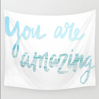 Wall Tapestry You Are Amazing Ocean Light Blue Beach Typography Words, Saying Boho Bohemian Home Wall Decor