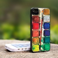Water color set - For iPhone 4,4S Black Case Cover