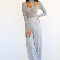 Grey Cutout Turtleneck Bodysuit