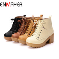 ENMAYER new 2015 autumn boots spring women boots, Artificial high heel Platform lace up ankle boots girls shoes big size 34-43