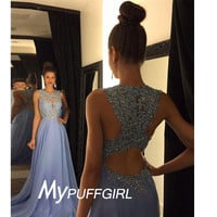 Carolina Blue Beaded Lace Appliques Chiffon Prom Dress With Cut Out Back