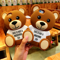 New 3D Cute Cartoon Teddy Bear Soft Silicone Case Back Cover Shells For iPhone 4/4s/5/5s/6/6s/6 Plus/6s Plus Mobile Phone Cases