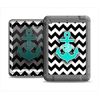 The Teal Green Monogram Anchor on Black & White Chevron Apple iPad Air LifeProof Fre Case Skin Set