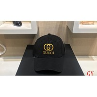 GUCCI Tide brand embroidery logo men and women casual wild visor baseball cap Black