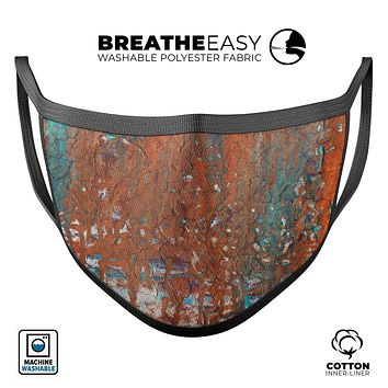 Abstract Cracked Burnt Paint - Made in USA Mouth Cover Unisex Anti-Dust Cotton Blend Reusable & Washable Face Mask with Adjustable Sizing for Adult or Child