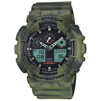 Casio G-Shock Mens Marble Series - Green Camo - Analog/Digital - Anti-Magnetic