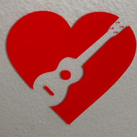 Vinyl Ukulele Heart Sticker