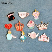 Miss Zoe 14pcs/set Alice's Adventures in Wonderland Brooches Button Pins Denim Jacket Pin Badge Jewelry Gift for Kids Girls