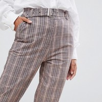 Missguided belted cigarette trousers in brown check at asos.com