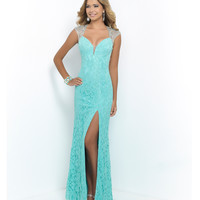 Aquamarine Beaded Cap Sleeve Open Back Lace Gown