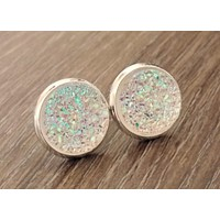 Druzy earrings-rainbow clear silver tone stud druzy earrings