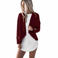 Womens Wool Casual Jacket 2017 New Autumn Ladies Long Sleeve Casual Tops Blouse O-Neck Cardigan Waterfall Jackets Winter Outwear