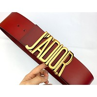 Dior Tide brand female classic character letter buckle belt red