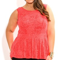 Plus Size Lace Peplum Top - City Chic - City Chic