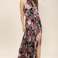 Evening Escape Black Floral Print Maxi Dress