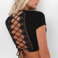 Fashion Women  Lace Bandage T Shirt Punk Crop Top