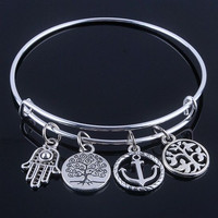 [Exclusiva] plated silver bracelets bangles adjustable expandable wire bracelets with anchor & life trees charms jewelry for women