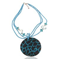 Abalone Beaded Statement Graphic Necklace Blue Giraffe