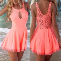 Preself rompers womens jumpsuit summer sexy lace halter openwork stitching Beach coveralls Harem Romper Playsuit