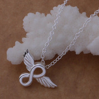 Infinity necklace, wings necklace wedding jewelry, gift for mom, wife, silver filled necklace, girlfriend and best friends