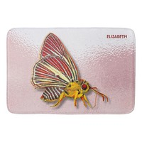 Psychedelic Colorful Fantasy Butterfly Drawing Bath Mat
