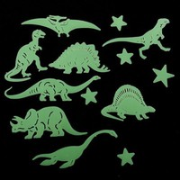 NEW 13 Pcs Plastic Glow In The Dark Star Dinosaur Fluorescent Stickers