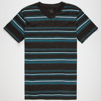 Blue Crown Zig Zag Stripe Mens T-Shirt Turquoise  In Sizes